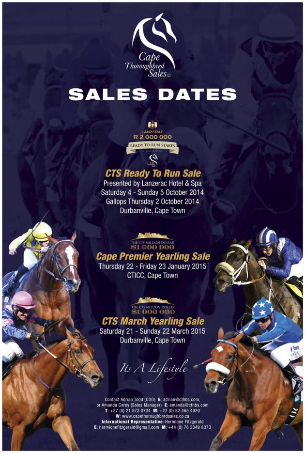 CTS Thoroughbred Sales Dates for 2014 ans 2015